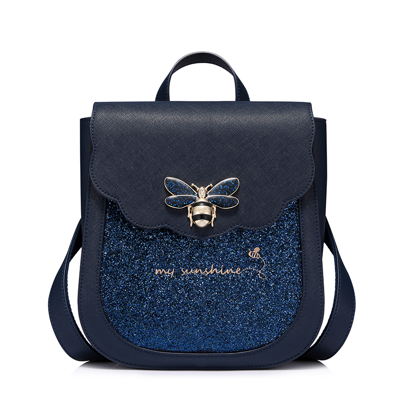 Women Luxury Blue Sapphire insect Backpack PU Leather Mochila Escolar School Bags For Teenagers Girls High Quality Backpacks women backpack high quality pu leather mochila escolar school bags for teenagers girls top handle backpack herald fashion
