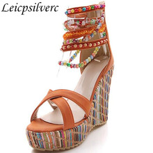 f1b11fe96c7 Bohemia folk style super high-heeled wedge sandals fashion color Beaded  Chain thick soled womens