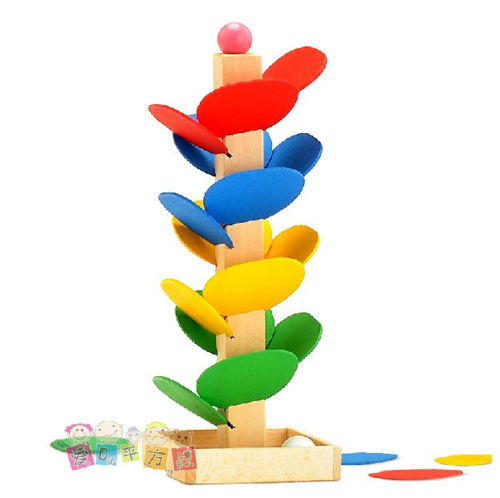 Candice guo wooden toy wood block assemble model game funny colorful desktop rolling ball DIY tree