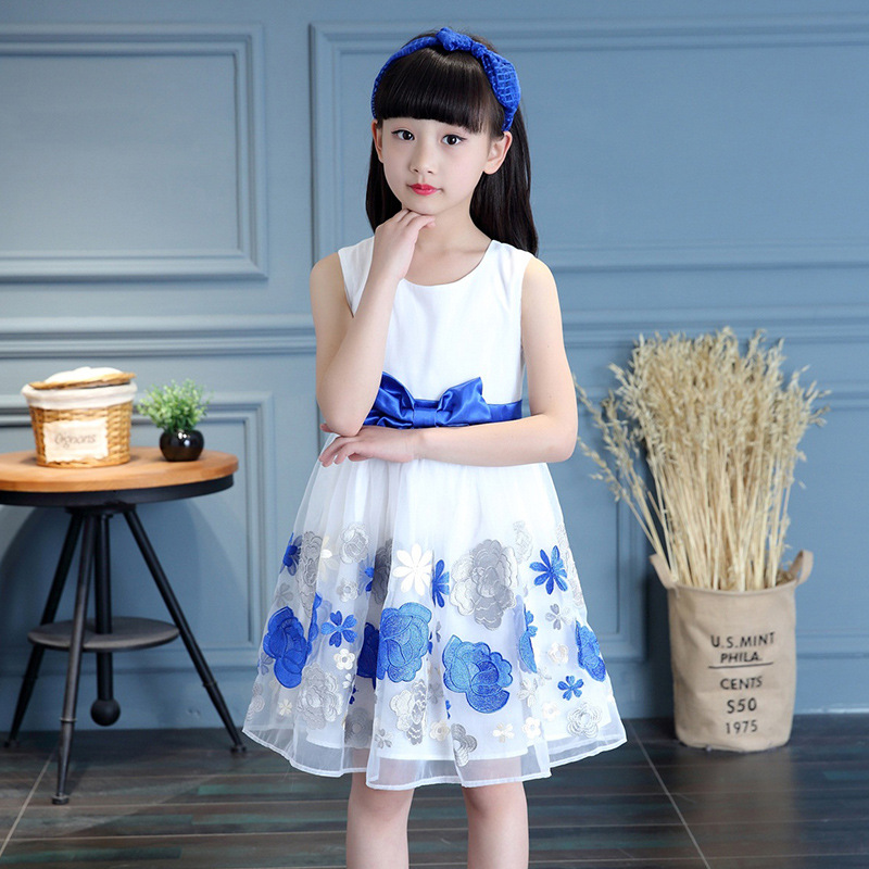 Embroidery Flower Sleeveless Summer Dress Girl Child Blue Cotton Children Dresses Princess Party Gowns Baby Clothes for Girls toddler girls dresses summer 2016 baby kids clothes princess children dress for girl clothes sleeveless flower party dress 2 10y