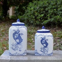 Новые китайские керамические украшения синий и белый декоративные баночки Портретные украшения фарфоровая мебель