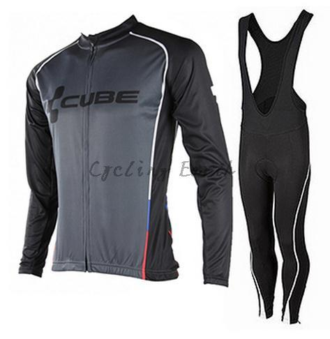 High Quality, CUBE 2015 black Winter long sleeve clothes cycling jersey bib pants bike bicycle thermal fleeced wear set