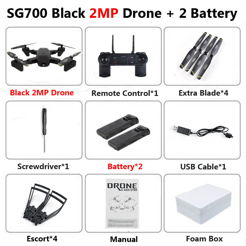 SG700 Professional Foldable Drone with Camera 2MP HD WiFi FPV Speed Control Altitude Hold RC Quadcopter Helicopter Toy XS809 E58