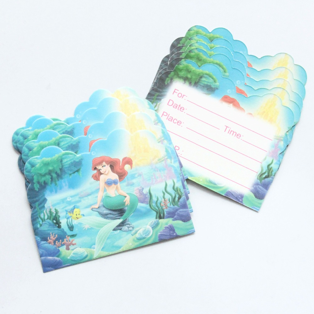 10 pcs/lot Mermaid Cartoon Theme Party Paper Invitation Card Birthday Kids Party Decorations Baby Shower Supplies Party Favors