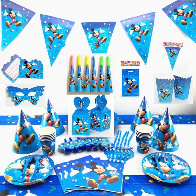 1 0 30 De Descuento Mickey Feliz Cumpleaños Fiesta Decoración Bandera Mantel Regalos Bolsas Tarjeta De Invitación Cupcake Topper Máscara Festival