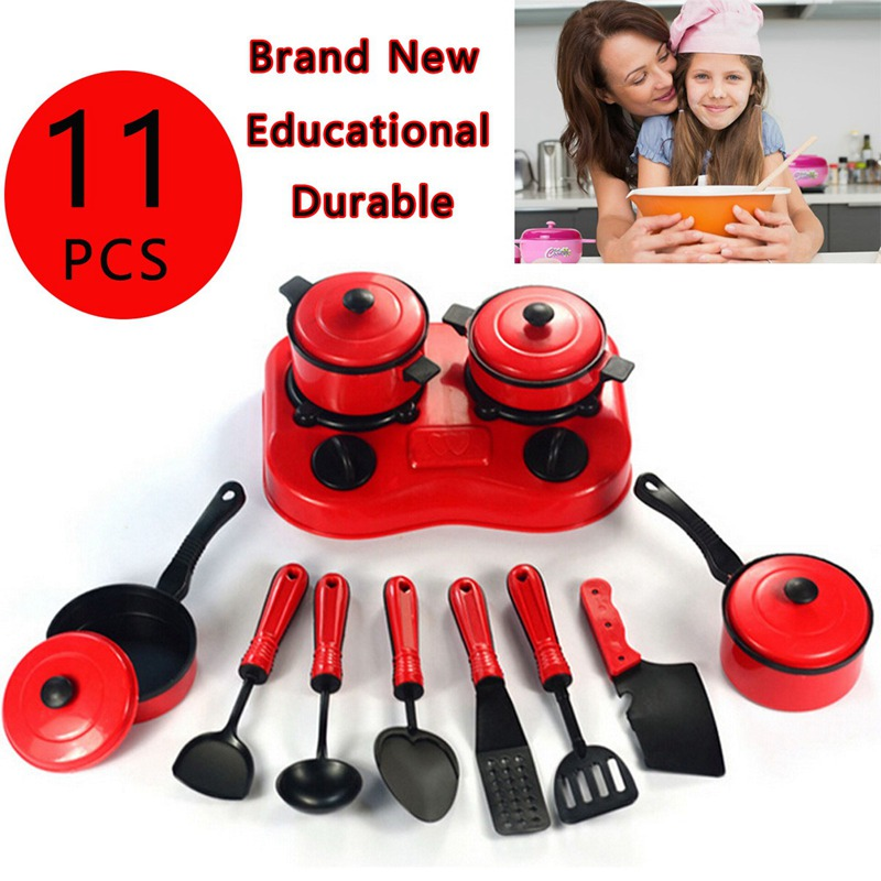Hot Sale 11pcs Children Pretended Role Paly Kitchen Utensil Accessories Cooking Toy Cookware Set Children Kitchen