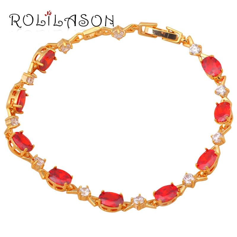 Shining font b Gold b font Tone font b Bracelets b font Zircon Design AAA Red