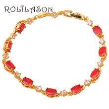 Shining Gold Tone Bracelets Zircon Design AAA Red Zircon Crystal Health Nickel & Lead free Fashion jewelry TB699