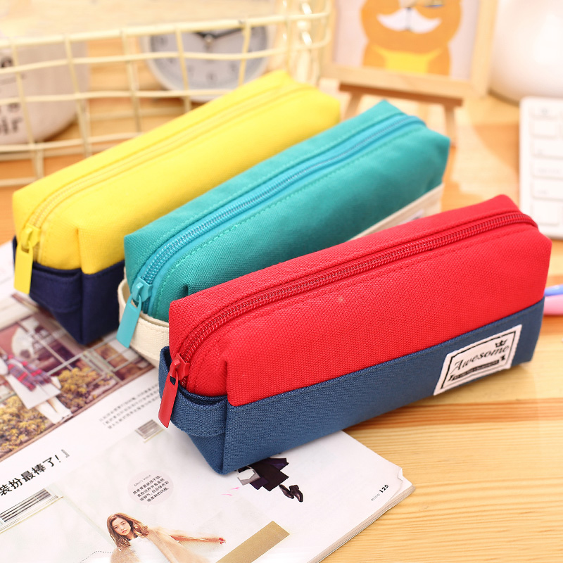 1pc/lot Retro Pencil Case Large Capacity Double Color Storage Bag with Zipper School Student Stationery Canvas Pencil Holder Bag high quality canvas large capacity solid color school multifunctional boys pencil case pen holder bag stationery penalty 04921