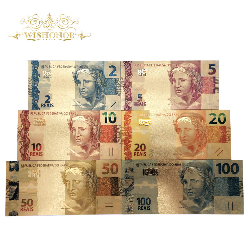 Nice Products 6pcs/set Color Brazil Banknotes 2 5 10 20 50 100 Reals Gold Banknote in Gold Plated Replica For Collection
