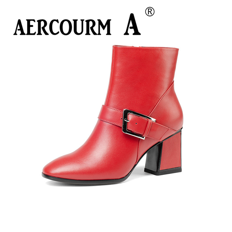 aercourm A Women Winter boots women Cowhide Ankle Boots Genuine Leather Boots Pointed Toe Shoes High Heel Side Zipper shoes Z960 xiangban handmade genuine leather women boots high heel ankle boots pointed toe vintage shoes red coffee 6208k11