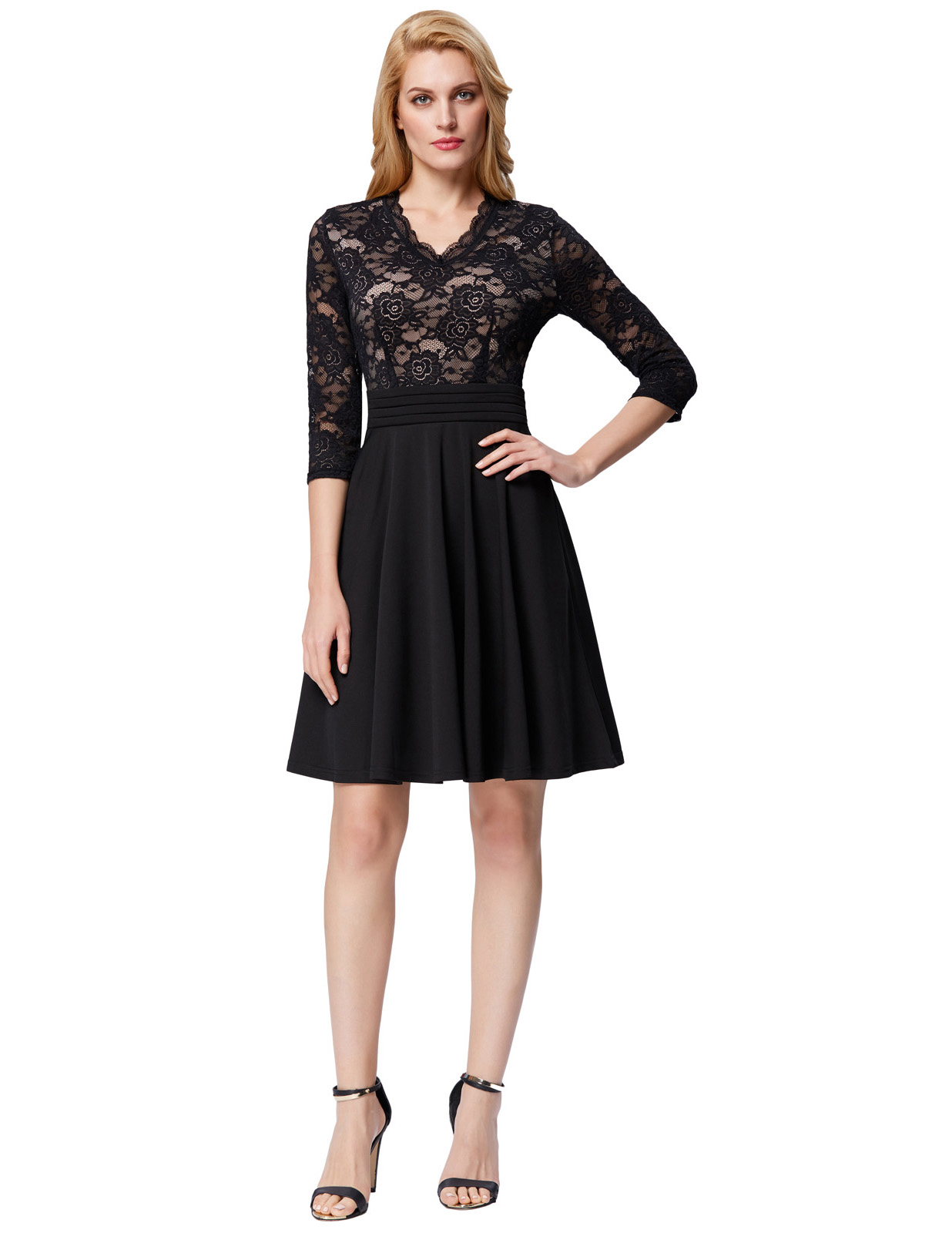 2018 Hot Sales Women Sexy V-neck Swing A-line Dresses Elegant Long Sleeve Party Retro Lace patchwork vintage Dress vestidos