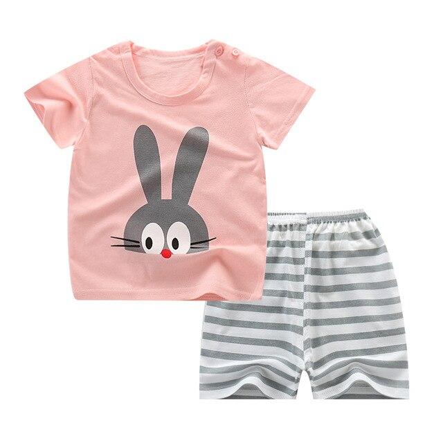 Summer Children's Pajamas Sets Cotton Short Sleeved Baby Girls Clothing Suit Cartoon Sleepwear Kids Pyjamas Enfant Boys Pyjama