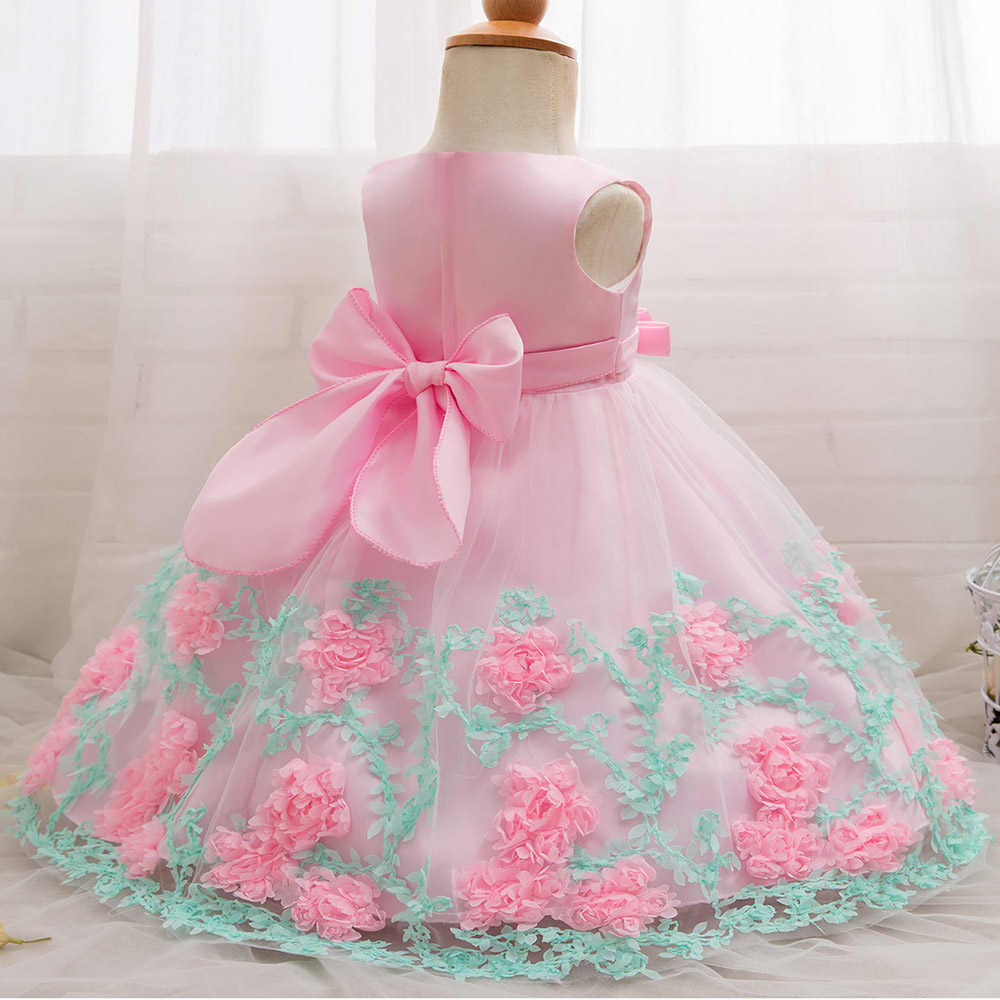 AmzBarley Newborn princess dress floral Lace tutu dress baby girls Birthday party ball gown infant Bowknot formal dress chothes in Dresses from Mother Kids