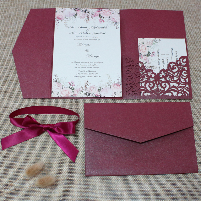 Burgundy Envelope Style Wedding Invitation with RSVP Card and Ribbon