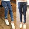 Розничная 2015 Sring осень кот шаблон дети джинсы брюки мода милый высокое качество детей очень свободного покроя джинсы для девочек