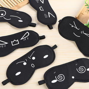 Cute black mask cartoon pattern sleeping eye mask Eyeshade Cover Shade Eye Patch girls Portable Blindfold Travel Eyepatch