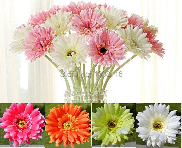 10 unidslote gerberas flores artificiales de seda de flores artificiales ramos de flores para