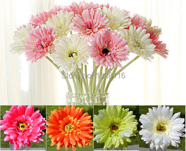 10pcslot artificial flowers silk flowers artificial gerberas flowers for home decoration wedding bouquets