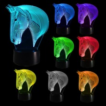 Horse Bedroom 3D Illusion LED Night Light Changing Color Touch Table Lamp Desk New 2017 недорого