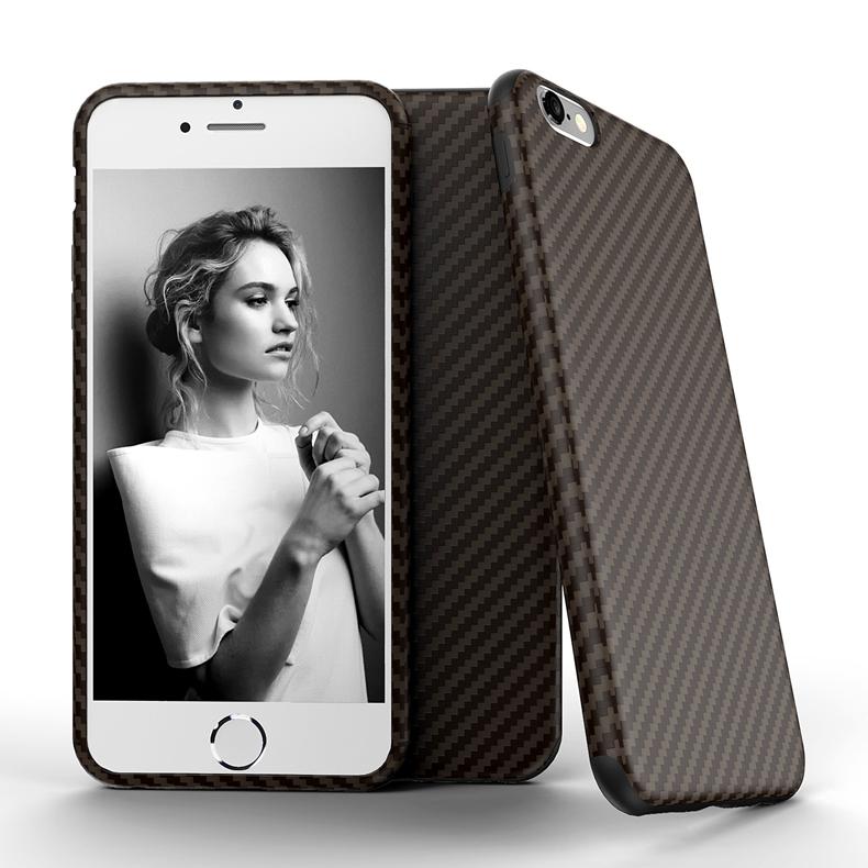 Najnowszy środowiska carbon fiber case dla iphone 6 6s plus miękkie antypoślizgowa anti-puk pokrywy dla iphone 7/plus skóra skóra torba 20
