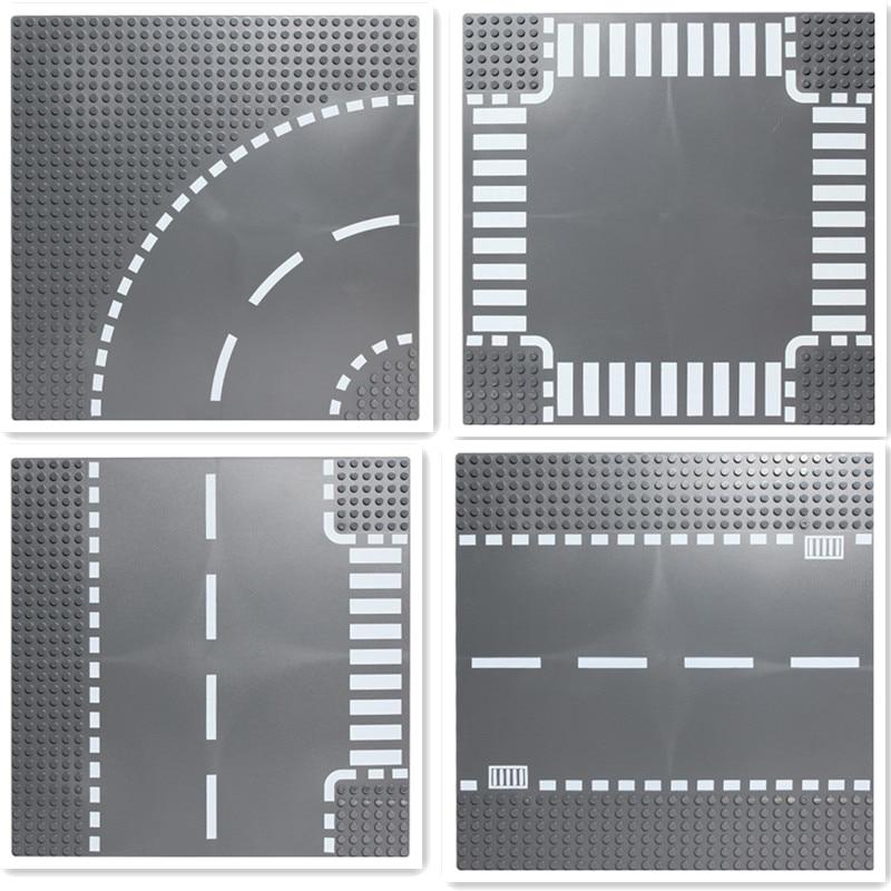 City Road Plate Rak Crossroad Curve T-Junction Byggstenar Legoings - Byggklossar och byggleksaker