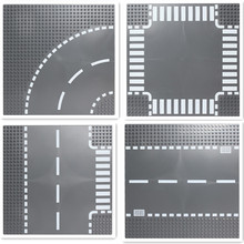 City Road Plate Rak Crossroad Curve T-Junction Byggstenar Legoings Delar Tegel Basplatta City Street Basplate Leksaker