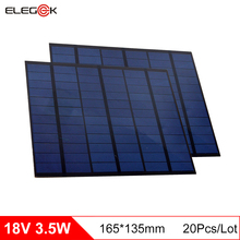 ELEGEEK 20pcs 3.5W 18V Solar Cell Polycrystalline Solar Panel Charging for 12V Battery DIY Solar Panel Charger 165*135MM