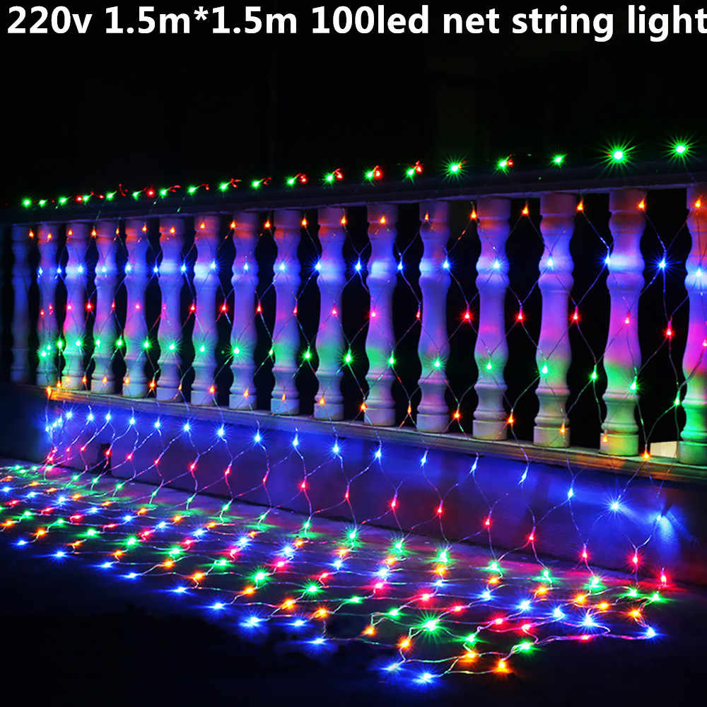 220 v ue podłącz 1.5 m * 1.5 m 100led wedding party decoration siatka LED ciąg światła multi color 8 wyświetla netto światełka bożonarodzeniowe zewnętrzne