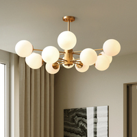 Qiseyuncai 2019 American molecular chandelier copper living room lamp home restaurant chandelier simple bedroom lamp