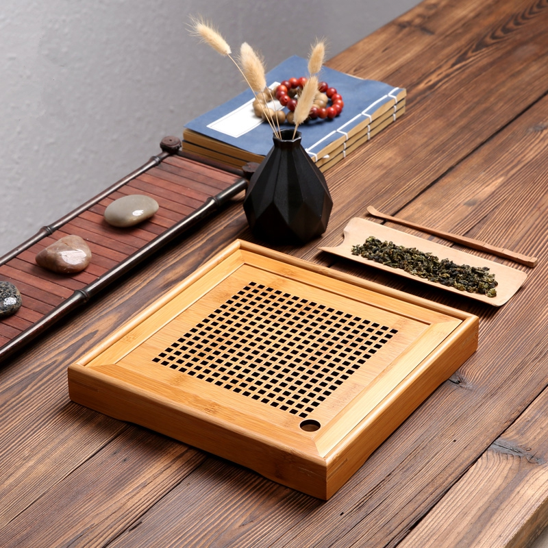 PINNY Natural Bamboo Tea Tray Square And Rectangle Tea Ceremony Table Chinese Kung Fu Tea Set