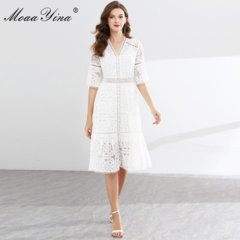 MoaaYina Fashion Designer Runway dress Spring Summer Women Dress V-neck Flare Sleeve Lace Hollow Out Patchwork Dresses moaayina fashion designer runway dress spring summer women dress v neck batwing sleeve print loose maxi dresses