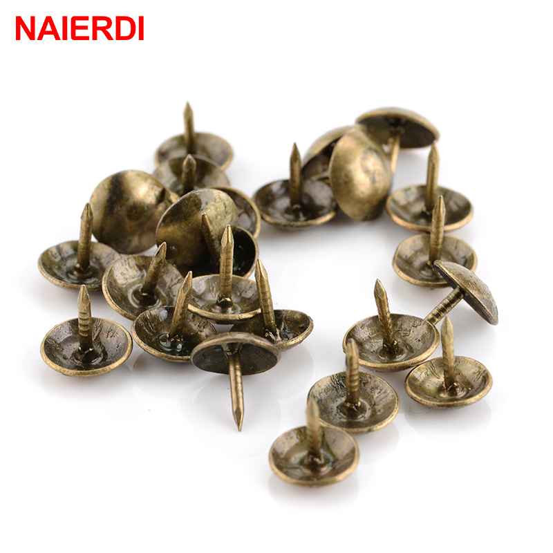 100PCS NAIERDI 8.5x16mm Bronze Tacks Antique Decorative Jewelry Gift Box Push Pin 10x10mm Door Nail For Fasteners Hardware