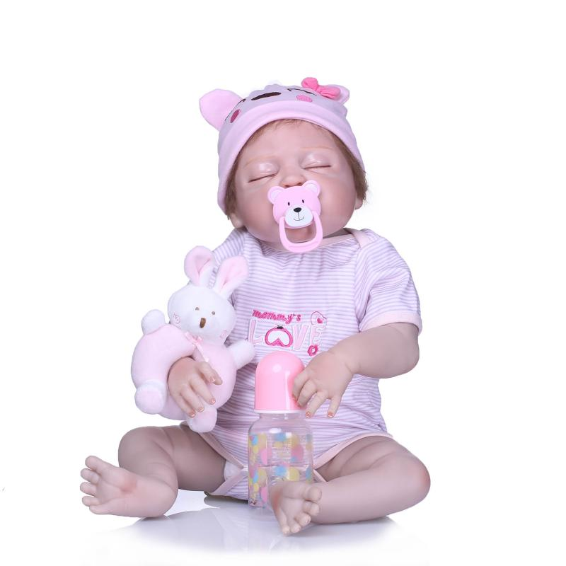 56cm New Handmade Silicone reborn baby 22inch Lifelike toddler Bonecas girl kid Realistic Full vinyl silicone body doll toy gift curly hair cute girl doll 56cm 22 handmade new fashion silicone reborn doll vinyl lifelike toddler baby bonecas kid doll reborn