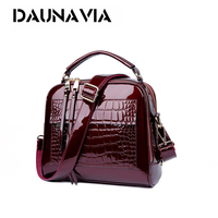 DAUNAVIA 2018 Designer Crocodile Pattern Patent Leather Women Shoulder Bags Handbags Quality Oil Pu Women Messenger