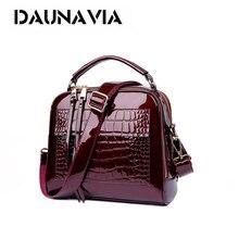 DAUNAVIA 2018 Designer Crocodile Pattern Patent Leather Women Shoulder Bags Handbags Quality Oil Pu Women Messenger Bag Ladies
