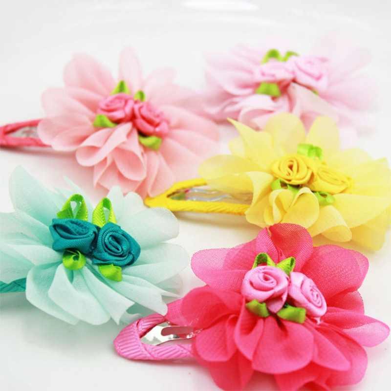 Nueva moda bebé flor horquilla de cabello para niña Clip sombrero de chifón accesorios para el cabello regalo