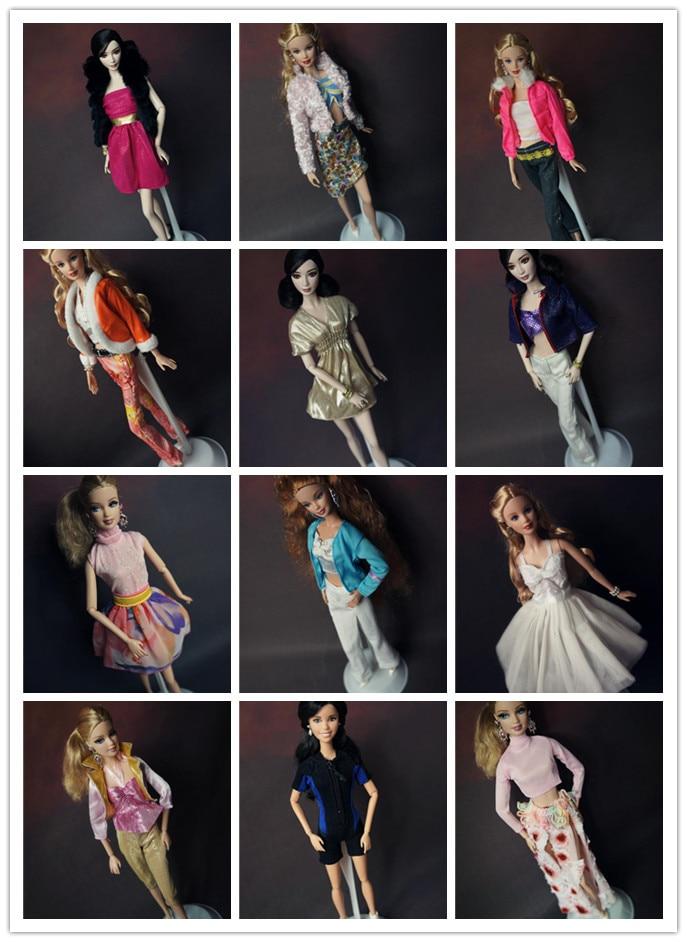 5 sets / lot Grosir Pakaian Fashion Baru Set Bergaya pullip Boneka Aksesoris Pakaian Kasual Putri banyak Pakaian untuk Barbie Doll