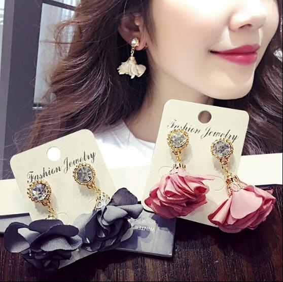 6 Colors 2016 New Korea Jewelry Beautiful Retro Round Zircon Fabric Flower Petals Pendant Drop Earrings for Women New year Gift