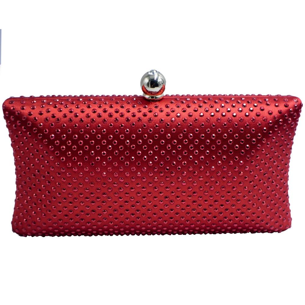 Elegante Caja de Embrague Bolso de Noche con Diamantes de Imitación de Cristal d
