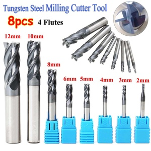 Image 3 - 8Pcs/set 4 Flutes Carbide End Mill Set Tungsten Steel Base Metal Milling Cutter Tool CNC 2 12mm with Blue Case