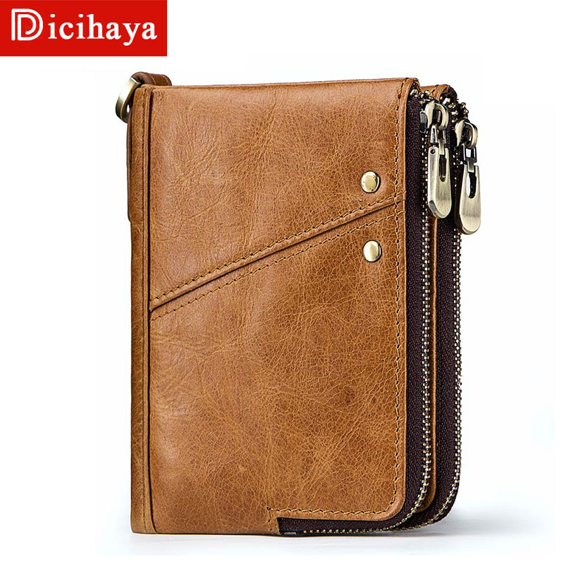 DICIHAYA Crazy Horse Genuine Leather Wallet Men Coin Purse Male Zipper Wallet Portomonee Portfolio Purse Small Pocket Money Bag men wallet genuine leather long size crazy horse cowhide leather male clutch coin purse card holder wallet