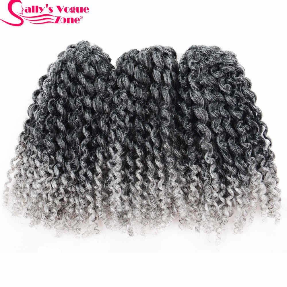 3 unids/set 8 pulgadas trenzas de ganchillo sintéticas de trenza Marly pelo Ombre negro plata gris rizado Crochet Jumbo extensiones de cabello trenzado