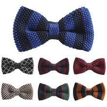 New Arrival Mens Bowtie Striped Knit Tie Knitted Pre Tied Bow Woven 20 Styles