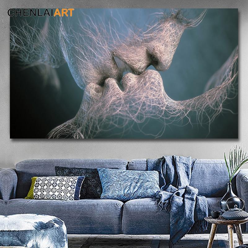 colores de pared azul para sala de estar 3 Colores Negro Azul Amarillo Moderno Abstracto Amor Beso