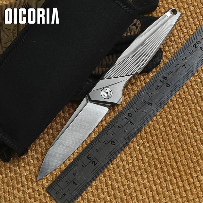 DICORIA outdoor Rays Flipper Folding knife Titanium handle M390 blade KVT ball bearing Tactical camp Drills