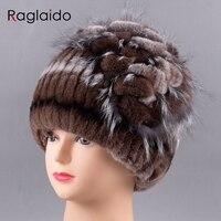 Raglaido Real Fur Hat Women Floral Rex Rabbit Fox Fur Floral Girls Winter Fur Hats Hand
