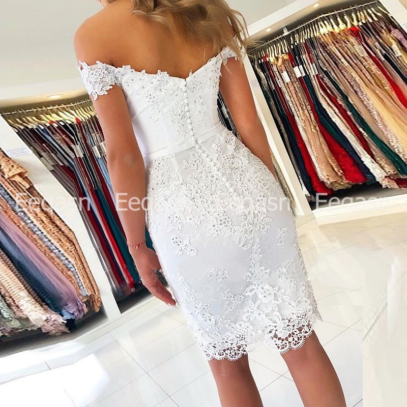 New Cocktail Dress 2020 Off Shoulder Lace Applique Sexy Sweetheart Knee Length robe de cocktail courte Semi Formal Party Dress