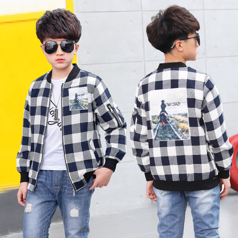 Children Big Boy Jacket Coat Outfits Plaid Zipper Jacket Tops Kids Spring Autumn Outerwear Costume 6 7 9 11 Years Old spring outfits for kids