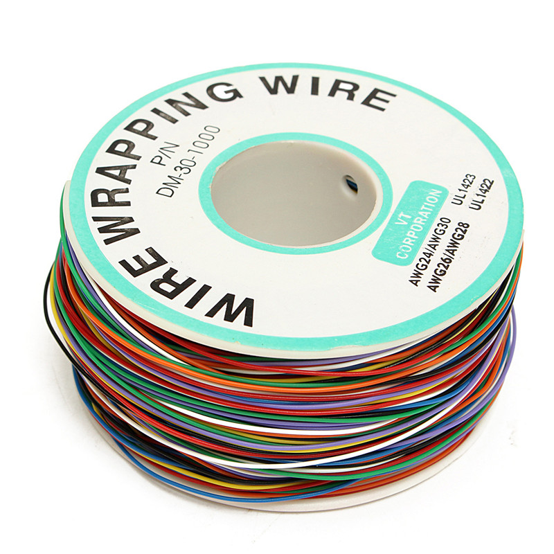 P/N B-30-1000 200M 30 AWG 8-Wire Colored Insulation Test Wrapping Copper Cable New Arrival 1pcs new wire wrap strip unwrap tool wsu 30m awg 30 prototyping wrapping